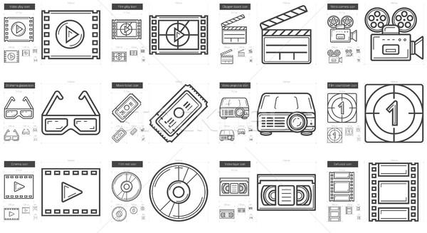 Cinema line icon set. Stock photo © RAStudio