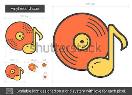 Vinil kayıt hat ikon vektör yalıtılmış Stok fotoğraf © RAStudio