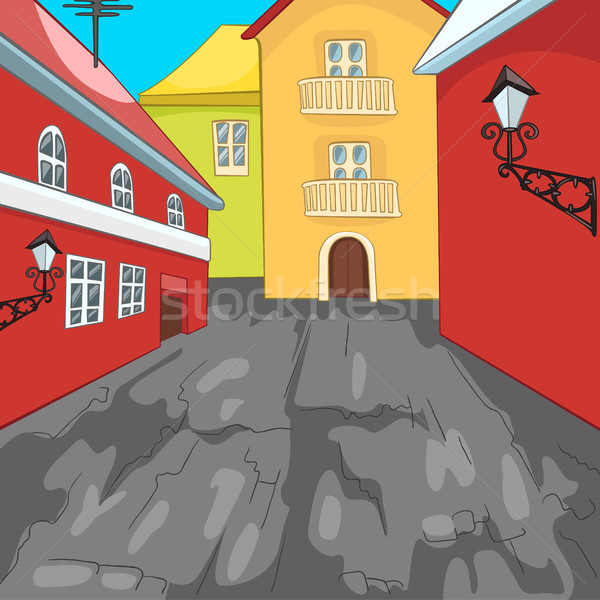 Colourful cartoon background of city street. Stock photo © RAStudio