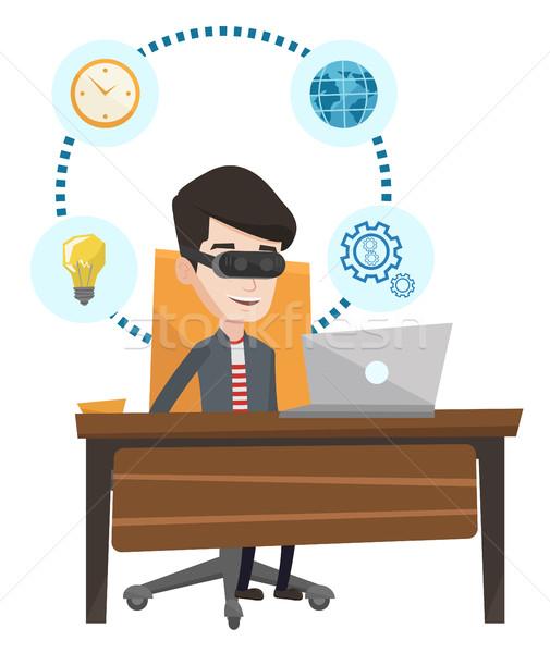 ストックフォト: ビジネスマン · ヘッド · 作業 · コンピュータ · 小さな · 白人