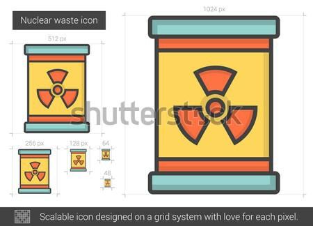 Stockfoto: Nucleaire · afval · lijn · icon · vector · geïsoleerd