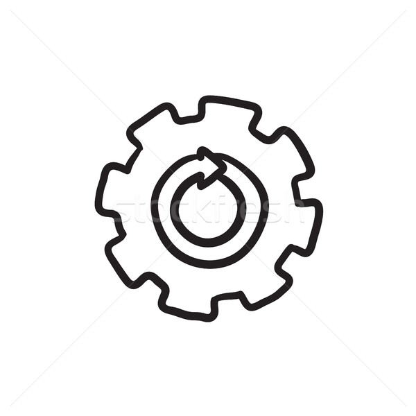 Gear wheel with arrow sketch icon. Stock photo © RAStudio