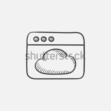 Browser venster wolk schets icon vector Stockfoto © RAStudio