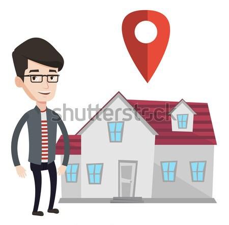 Pośrednik w sprzedaży nieruchomości domu Pokaż młodych asian Zdjęcia stock © RAStudio