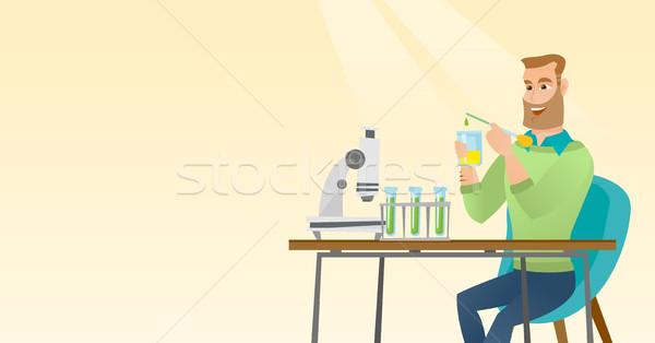 Student werken laboratorium klasse kaukasisch Stockfoto © RAStudio