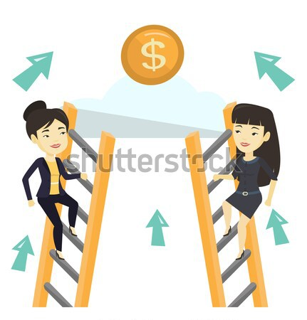 Two business women competing for the money. Stock photo © RAStudio