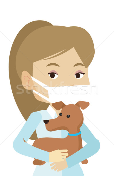 Stock photo: Veterinarian with dog in hands vector illustration