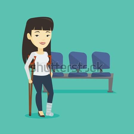 女性 骨折した脚 松葉杖 脚 石膏 ストックフォト © RAStudio