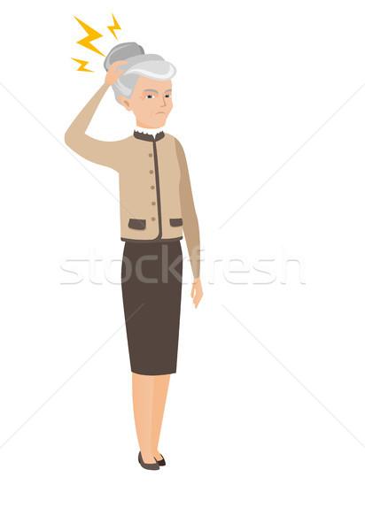 白人 ビジネス女性 雷 頭 沈痛 ストックフォト © RAStudio