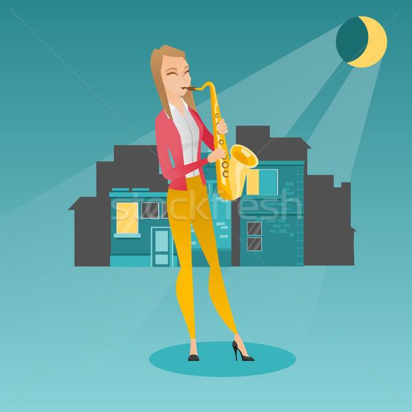 Muzyk gry saksofon kobieta Zdjęcia stock © RAStudio