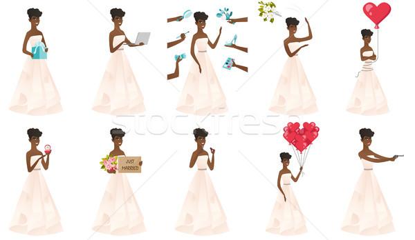 Foto stock: Vetor · conjunto · ilustrações · noiva · jovem