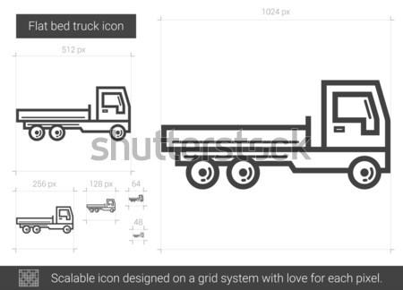 Flat bed truck line icon. Stock photo © RAStudio