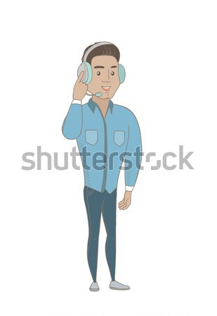 Hispanic customer service operator in headset. Stock photo © RAStudio
