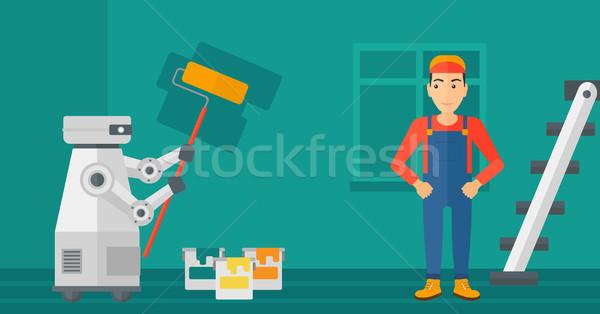 Robot house painter painting the wall. Stock photo © RAStudio