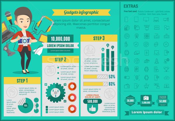 Kütyük infografika sablon kaukázusi nő sok Stock fotó © RAStudio