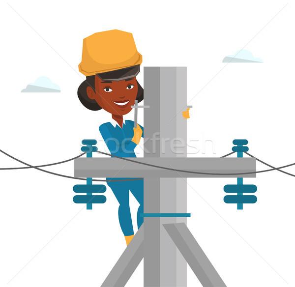 Elektriker arbeiten elektrische Macht Pol african Stock foto © RAStudio