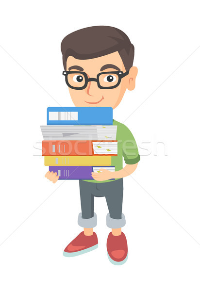 Caucasian school child holding pile of textbooks. Stock photo © RAStudio
