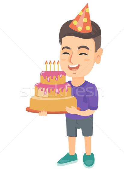 Caucasiano criança bolo de aniversário velas pequeno Foto stock © RAStudio