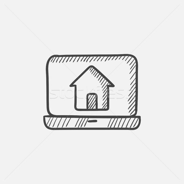 Laptop with home on the screen sketch icon. Stock photo © RAStudio