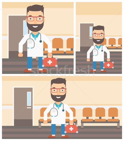 Médecin premiers soins boîte Homme uniforme Photo stock © RAStudio