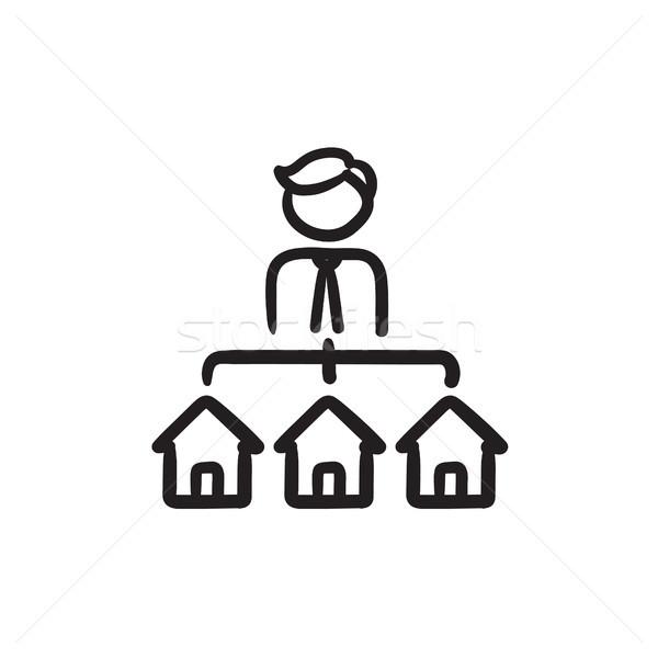 Immobilienmakler drei Häuser Skizze Symbol Vektor Stock foto © RAStudio