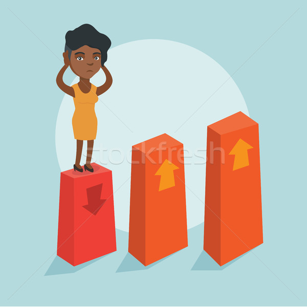 African bankrupt standing on chart going down. Stock photo © RAStudio