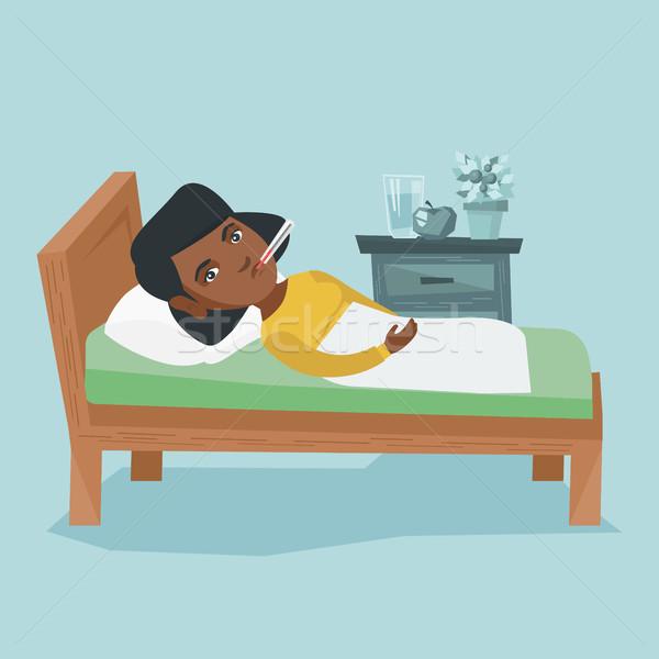 Doente africano mulher termômetro cama Foto stock © RAStudio