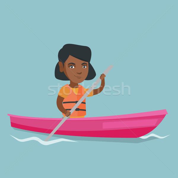 Jonge vrouw kajak reiziger Stockfoto © RAStudio