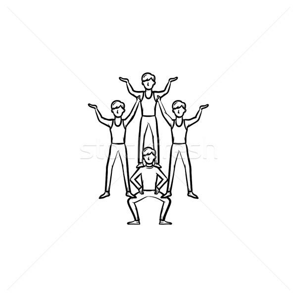 Cirkusz készít piramis kézzel rajzolt ikon emberi Stock fotó © RAStudio
