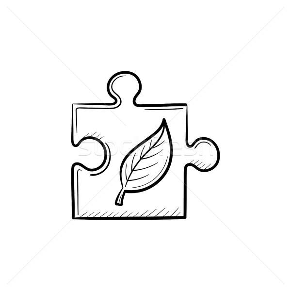 Puzzle piece hand drawn sketch icon. Stock photo © RAStudio