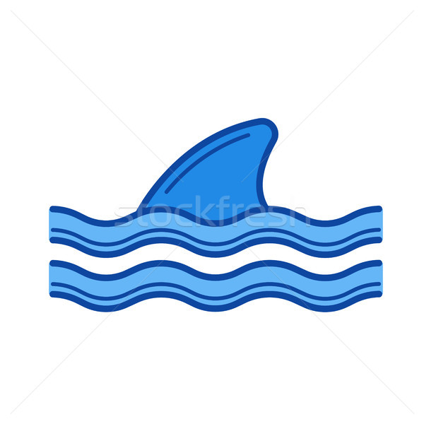 Shark fin above water line icon. Stock photo © RAStudio