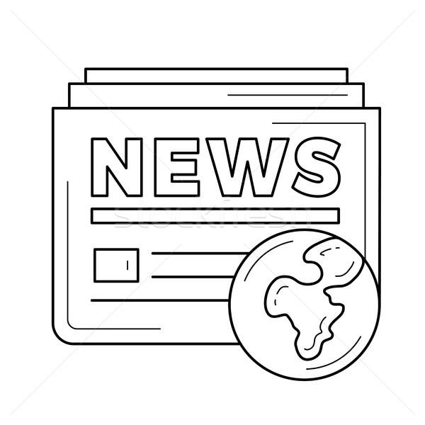Foto stock: Global · jornal · linha · ícone · vetor · isolado