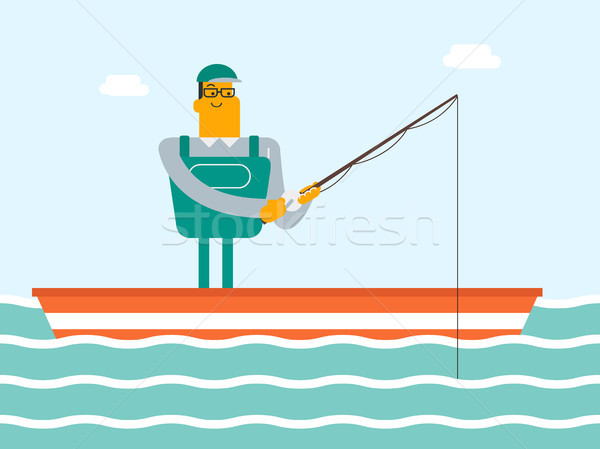 Caucasian white fisherman fishing from the boat. Stock photo © RAStudio