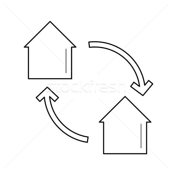Ev değiştirme hat ikon vektör yalıtılmış Stok fotoğraf © RAStudio
