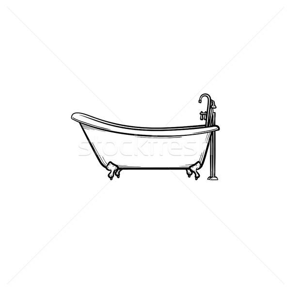 Vasca da bagno toccare sketch icona contorno Foto d'archivio © RAStudio