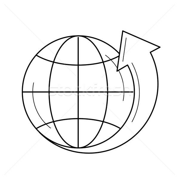 Dünya vektör hat ikon yalıtılmış beyaz Stok fotoğraf © RAStudio