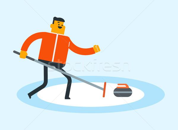 Caucasian sportsman playing curling on ice rink. Stock photo © RAStudio