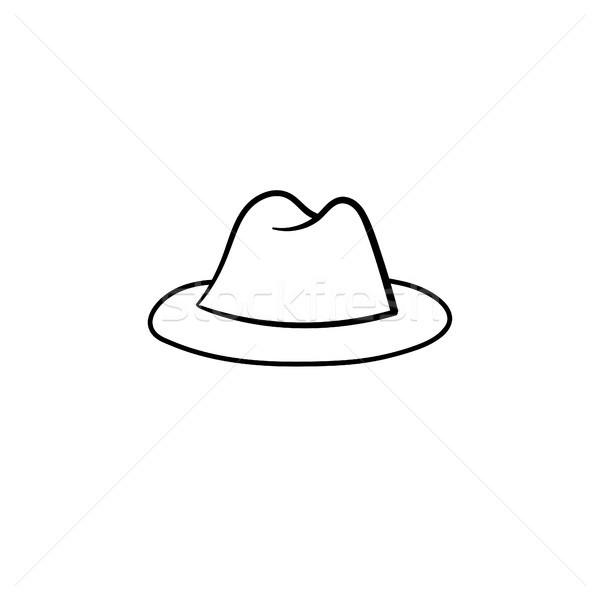 Fedora hat szkic ikona Zdjęcia stock © RAStudio