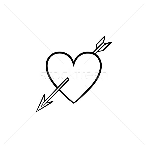 Love heart with cupid arrow hand drawn sketch icon Stock photo © RAStudio