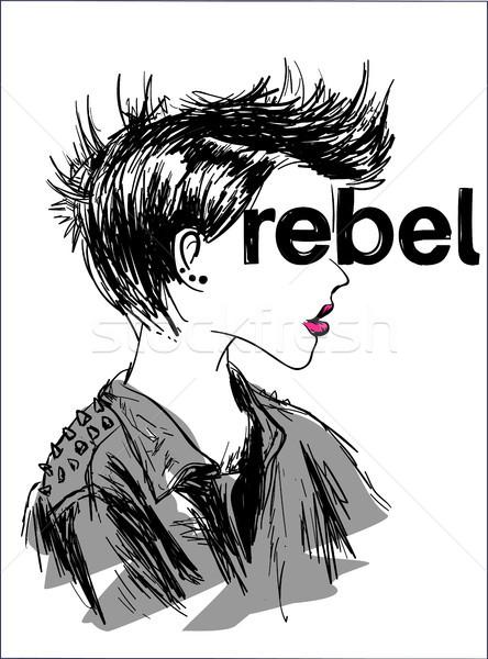 Rebel tshirt print borduurwerk grafische typografie Stockfoto © RAStudio