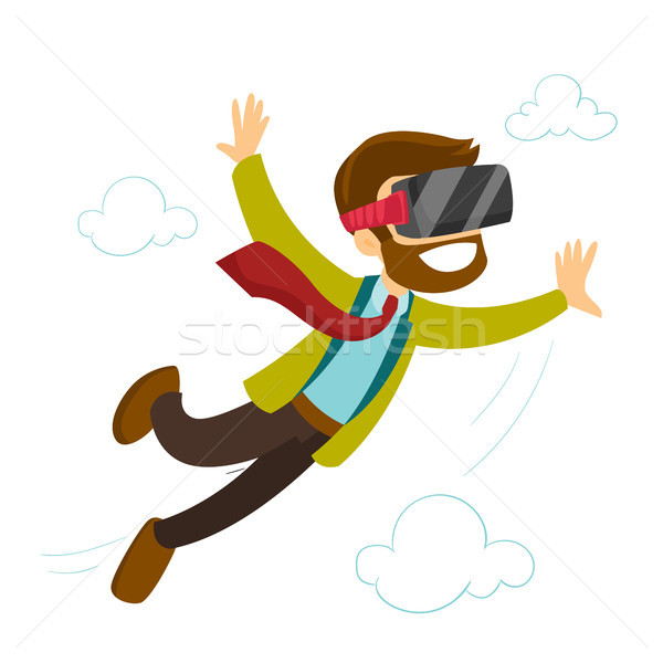 A white man in virtual reality headset flying in the air. Stock photo © RAStudio
