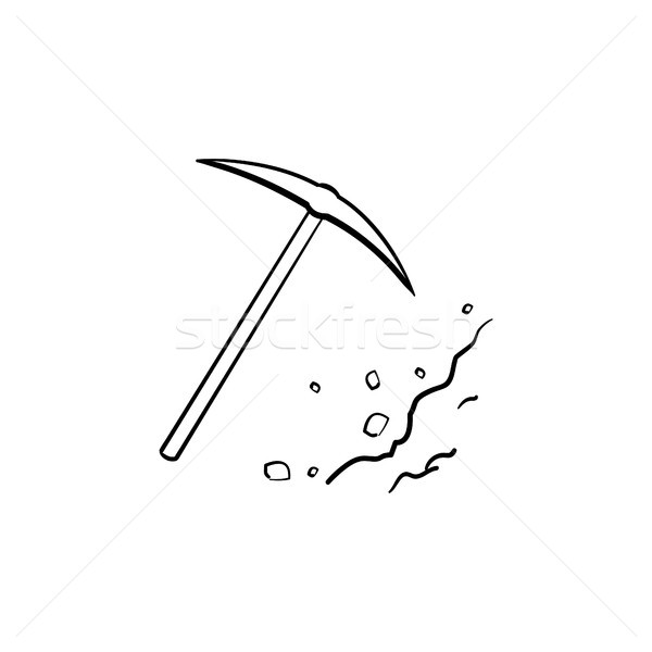 Pickaxe chisel hand drawn outline doodle icon. Stock photo © RAStudio