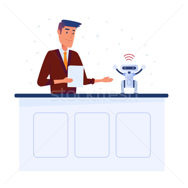 Caucasian man inventor sets up small robot with tablet via wi-fi connection. Stock photo © RAStudio