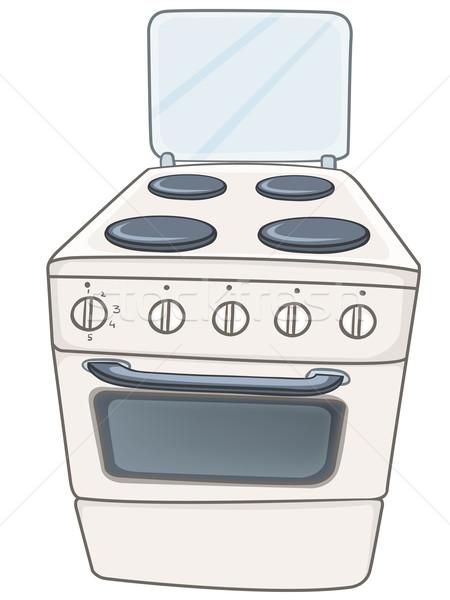 Rajz otthon konyha tűzhely sütő izolált Stock fotó © RAStudio