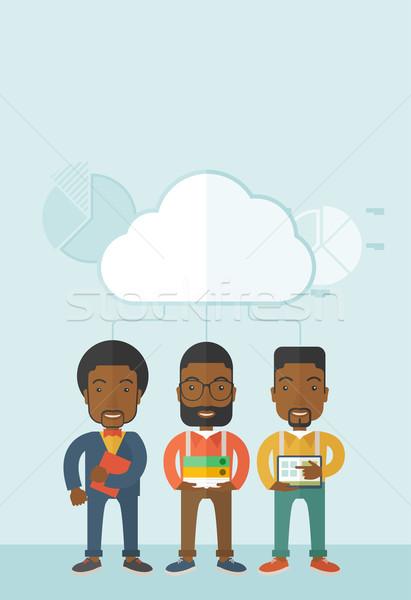 Three men holding book files, notebook and tablet. Stock photo © RAStudio