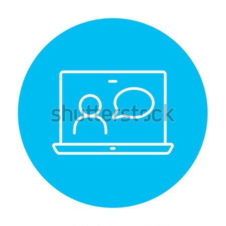 Laptop egér online tutorial vékony vonal Stock fotó © RAStudio