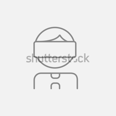 Young boy with VR headset drawn in chalk Stock photo © RAStudio