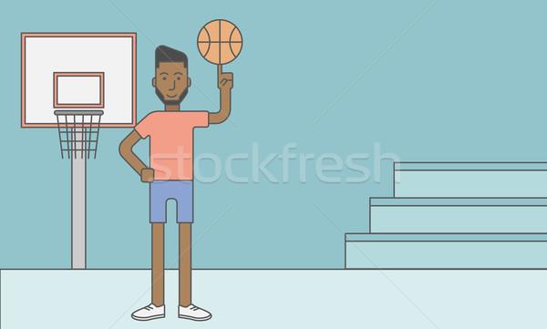 Stock fotó: Kosárlabdázó · férfi · labda · ujj · vektor · vonal