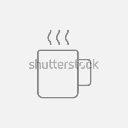 Mok warme drank lijn icon web mobiele Stockfoto © RAStudio