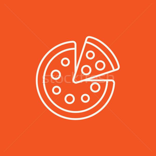 Geheel pizza slice lijn icon web mobiele Stockfoto © RAStudio